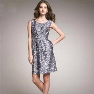 KATE SPADE Grey Deanna Leopard Silk Cocktail Dress